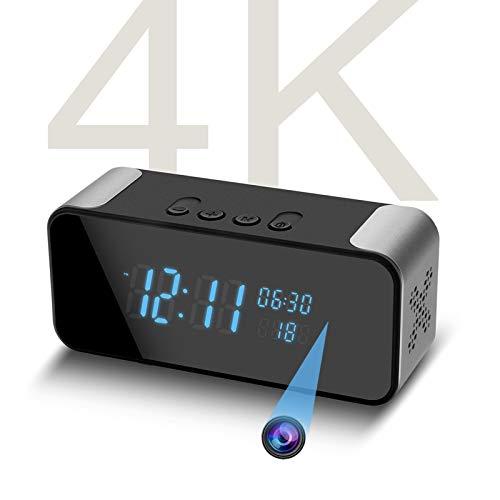 4K Hidden Camera - Alarm Clock - Bluetooth Speaker, Wireless WiFi Spy Nanny Camera, Motion Detection Alert,Live Stream Monitoring for Baby Nanny Pet or Home Safety- by Amzcev