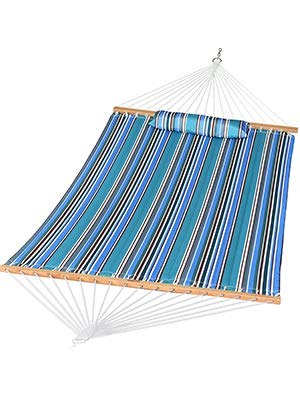 Prime Garden Quilted Fabric Hammock with Pillow, Hardwood Spreader Bars, 2 People (Blue Stripe)