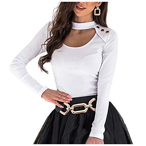 yayay Blusa de manga larga para mujer, estilo casual, con botones abiertos, color sólido, para mujer
