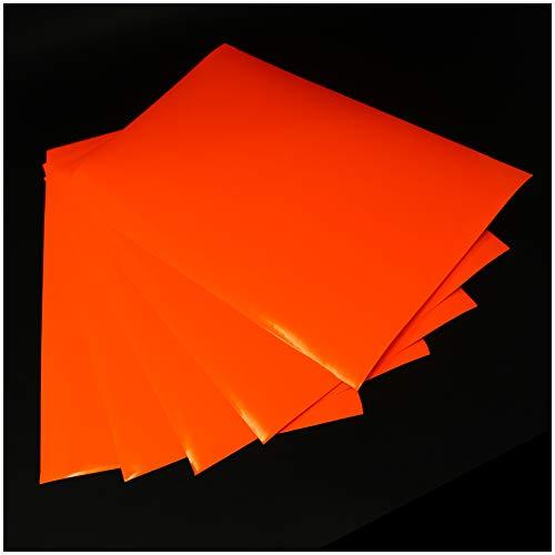 (28,80€/m²) Din A4 Bogen Bastelfolie Selbstklebend Künstlerfolie Plotterfolie Plottfolie Folie Basteln (Neon Orange, 5er Set Din A4 Bögen)