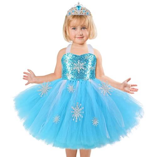 Tacobear Disfraz de Princesa Tutú Vestido Disfraz de Frozen Elsa Niña con Corona Bebé Vestido de Cosplay de Carnaval,  Halloween y la Fiesta de Cumpleaños (S (1- 2 años))