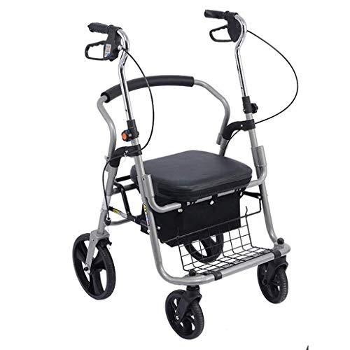 N/ A Gehhilfe Transport Rollstuhl Rollator Walker, mit Sitz, Rückenlehne und Satteltasche Geeignet für ältere Menschen, Pedal abnehmbar, Gehhilfen für ältere Menschen