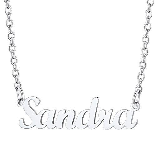 Sandra Collares Modernos Nombres Personales Decoraciones Cuello Joyería Resistente Acero Inoxidable 316L Platino Plateado