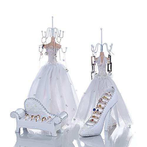 ZXCY Prinzessin Hochzeitskleid Schmuck Display Halter Schuhe Mit Hohen Absätzen Ohrring Halskette Ring Armband Kette Schmuckständer Set Für Frauen Mädchen Geschenke,B Set