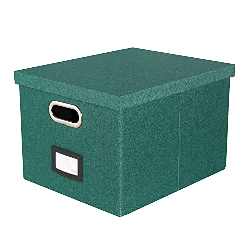 Comix Storage File Box Collapsible Linen Fabric Document Storage-Organizer for Home Office AL3006, Green 1 Pack