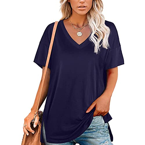 WXDSNH Tops para Mujer Cuello En V Color Sólido Manga Corta Dividida Camiseta Casual Suelta Camiseta Elegante para Mujer