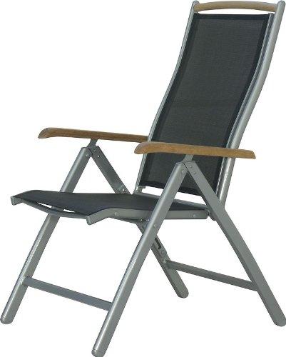 IB-Style® Diplomat Hochlehner | Klappstuhl | Aluminium -Textilen -Teakholz |Mehrfach gewebt | Silber