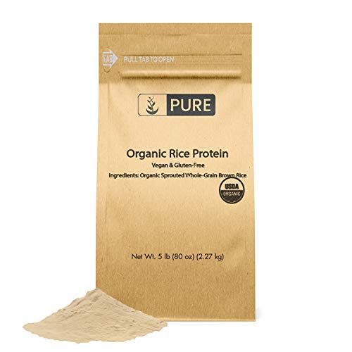 Rice Protein Powder (5 lbs), Sustainably Sourced, Vegan & Gluten-Free, Made of Sprouted Brown Rice, Post-Training Recovery, Eco-Friendly Packaging (Also Available in 3 lbs)