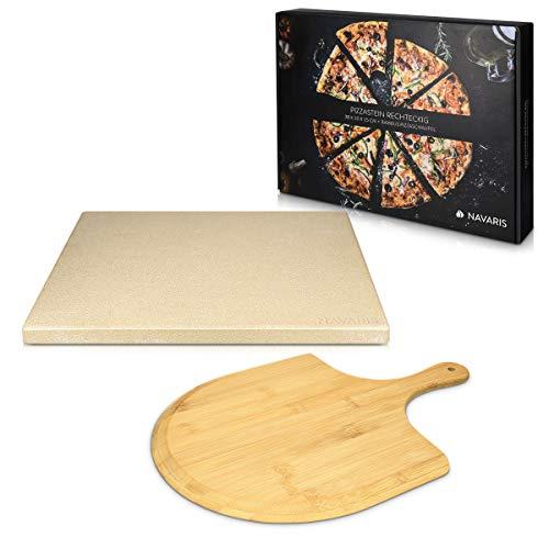 Navaris Pizzastein für Backofen Grill aus Cordierit - 38x30cm Pizza Stein für Ofen mit Pizzaschaufel - Gasgrill Herd Teller rechteckig in Beige