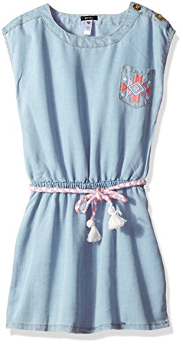 kensie Girls' Little Casual Dress (More Styles Available), Light Blue Denim KY97, 6