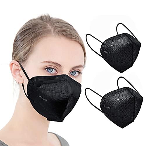 KN95 Face Mask Black 5 Layer Cup Dust Safety Masks Filter Efficiency≥95% Breathable Elastic Ear Loops Black Masks 25pcs