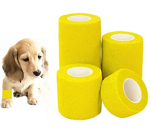 NIUBICLAS 4 rollos de cinta adhesiva de elastoplasto, cinta adhesiva de primeros auxilios para mascotas, 10 cm, 7,5 m, 5 cm, 2,5 cm de ancho x 4,6 m de largo