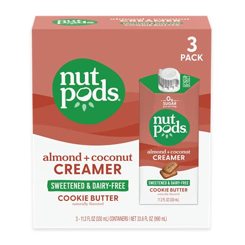nutpods Keto-friendly Cookie Butter Sweetened coffee creamer, Zero-Sugar, 5 Calories per serving, Dairy-Free, WW, Gluten Free, Non-GMO, Vegan, Kosher (3-Pack)