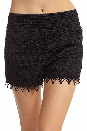 ToBeInStyle Women's Crotchet Lace Shorts - Black - Medium