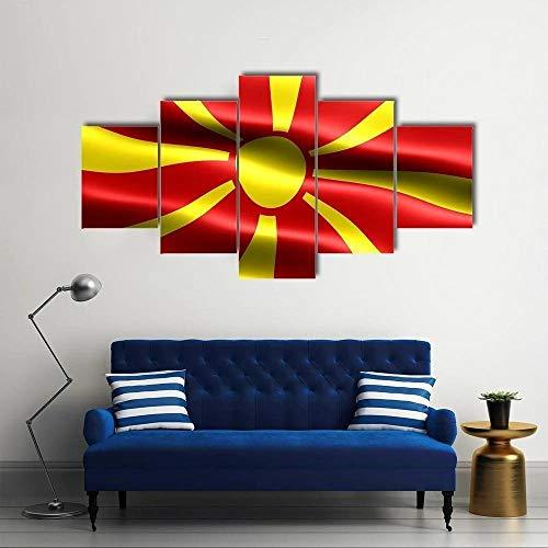 ARIE 5 Teiliges Wandbild Nordmazedonien Flagge Hd Gedruckt 5 Stücke Leinwand Malerei Wandkunst Wohnzimmer Wohnkultur Weihnachten Kreative Geschenke