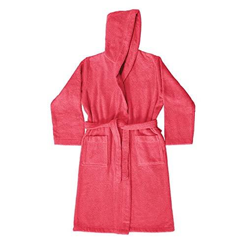Bassetti - Albornoz infantil para niña, con capucha, talla años 5-6, 7-9, 10-12, rizo de puro algodón, 360 g/m² (rojo, años 5/6)