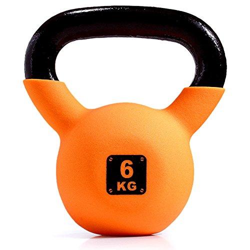 ケトルベル 4kg / 6kg / 8kg / 10kg / 12kg 【床を傷つけないソフトコーティング】 キャストアイアン製 体幹トレーニング 筋トレ (6㎏ / オレンジ)