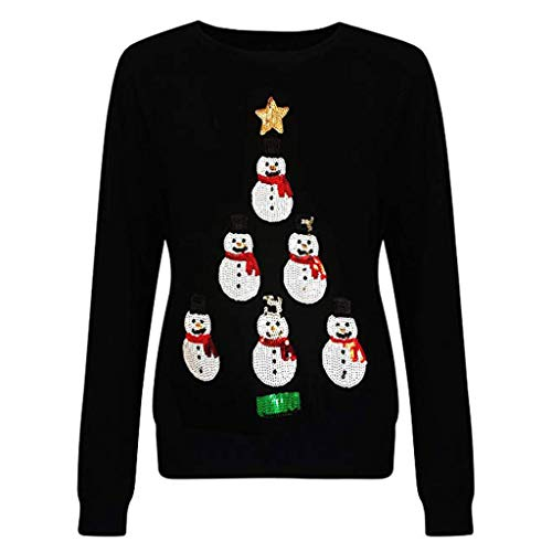 Goosuny Damen Pullover Schneemann Applique Sweatshirt Weihnachten Langarmshirts Rundhals Weihnachtspullover Weihnachtspullis Frauen Christmas Jumper
