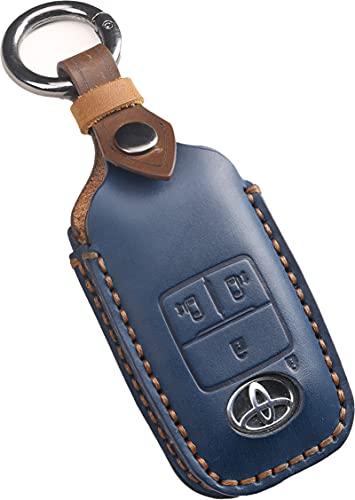 新型ルーミー キーカバー ダイハツ タント カスタム キーケース 新型トール 本革 キーケース レザー DAIHATSU TANTO LA650S LA660S キーカバー 新型 スマートキーケース かっこいい おしゃれ 鍵のカバー (新型4ボタン, 青)