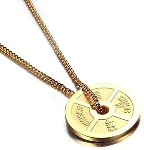 huangshuhua Collar Colgante Collar de Acero Inoxidable Collar Fitness mancuerna Barbell Piece Titanium Steel Pendant Necklace Bronze Gold Gift for Women Hombres Regalos