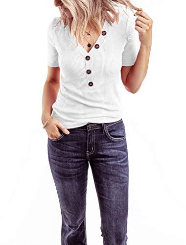 Minthunter Women's Short Sleeve T Shirts V Neck Shirts Ribbed Basic Henley Tops (X-Large, A-White)