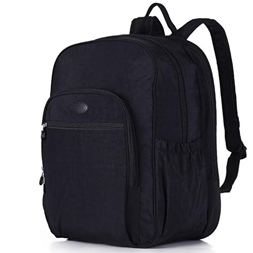 Nylon Casual Travel Daypack Backpack with 15.6 Inch Laptop Compartment, with Trolley Strap, Large (Black)
