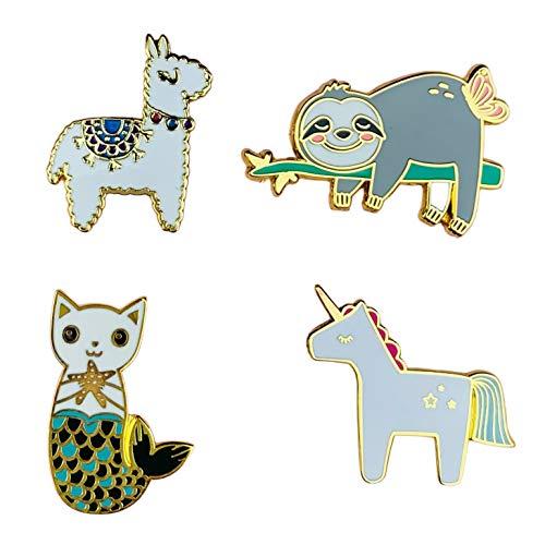 4er Ansteck-Pin-Set: Faultier, Einhorn, Alpaka und Meerjungfrau | Ostergeschenk für Mädchen | Schmuck Geschenkidee | Lustige, witzige Geschenke