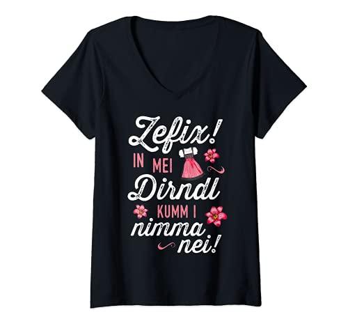 Damen Trachtenshirt In mei Dirndl kumm i nimma nei Oktoberfest T-Shirt mit V-Ausschnitt