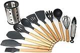 Durable 11 piezas de silicona utensilios de cocina utensilio conjunto de utensilios de madera herramientas de cocina para utensilios de cocina antiadherentes Incluye pinzas de cuchara batidor y batido