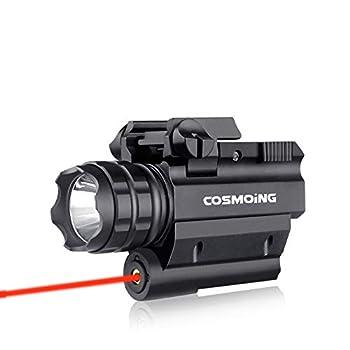 COSMOING Rail Mounted Pistol Red Laser Light Combo  Laser Sight Combo  & 600 Lumen Strobe Pistol Flashlight Rail Mount Gun Flashlight with Quick Release for Pistols Handguns,Gun Light,Pistol,Rifles