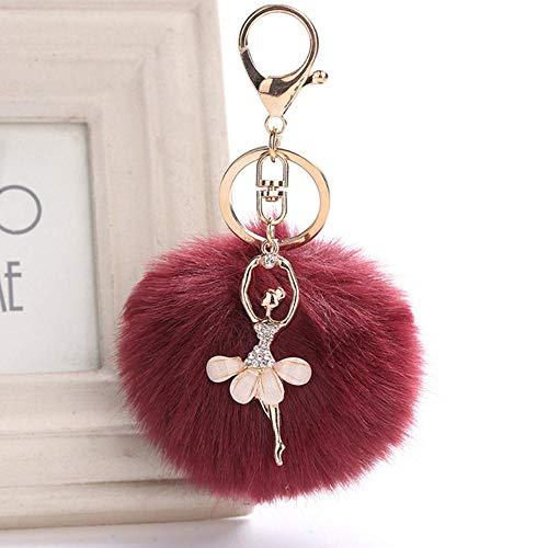 SAGIUSDM 2 PC Frauen Keychain 8cm Pelz Pom Pom Schlüsselkette Faux-Kaninchen-Haar-Birnen-Beutel-Auto-Verzierungs-Fuchspelz-Kugel-hängender Schlüsselring, Rotwein