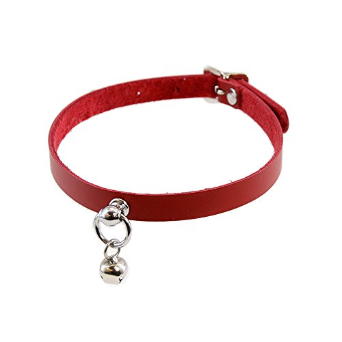 Pawstar Mini Kitty Bell Collar Leather Choker - Red