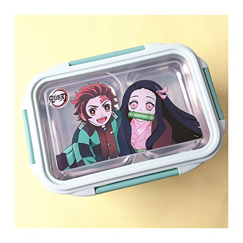 XIAOQIU Bento Box Stainless Steel Double-layer Lunch Box Student Office Lunch Box Corner Bio-separated Insulated Bento Box Lunch Box (Color : Blue ghost, Lunch Box Capacity : 301 500ML)