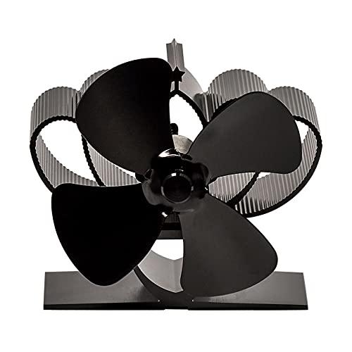 COMBIUBIU - Mini Ventola Per Stufa A 4 Lame, Per Bruciatori A Legna, Funzionamento Silenzioso, Ecologico, Distribuzione Efficiente Del Calore, Colore: Nero