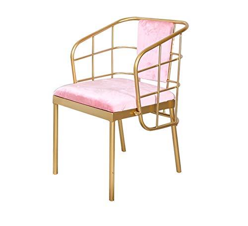 Président Chaise Nordique Moderne Or Retour café Ronde Table à Manger et chaises Art créatif Fer forgé Table Basse en marbre Chaise en métal Chaise 3.26