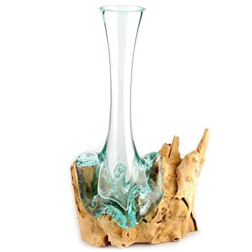 Wurzel mit Glasvase Vase aus Glas auf Holz Holzwurzel Holzdeko (Gesamthöhe ca. 32-38 cm)
