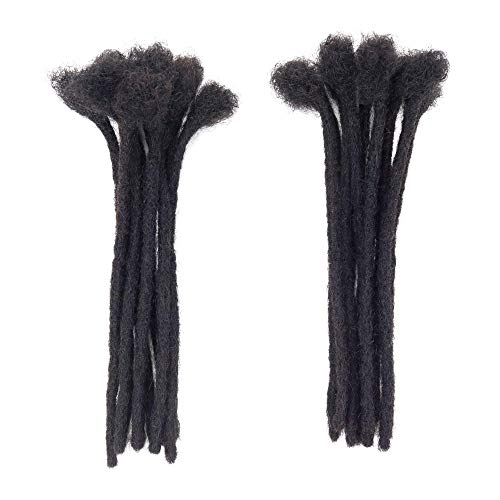 8 Inch Human Hair Dreadlocks Extension 20 Strands Handmade Locs Extensions for Black Man/Women 20 Strands Small Size( 0.6cm) Nature)