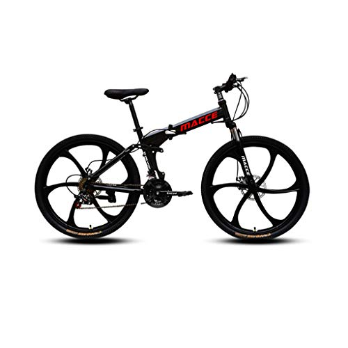 LEL 26 Inch Folding Bike for Adult Teens Adult Mountain Bicycle Six-Cutter Wheel Dual Disc Brake Bicycle