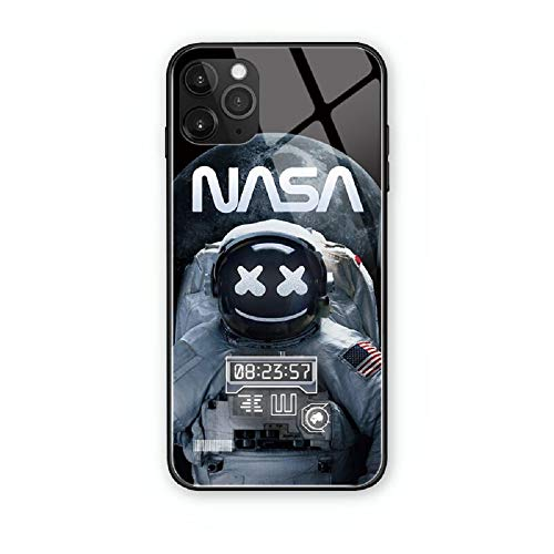 NASA Astronaut Call Led Flash Luminescent Glass case for iPhone 7/8/SE2, 7/8 Plus, Xr, 11 Pro Max, 12 Mini Pro Max, Space Suit Theme Case Anti-Scratch Tempered Glass Cover (iPhone Xr)