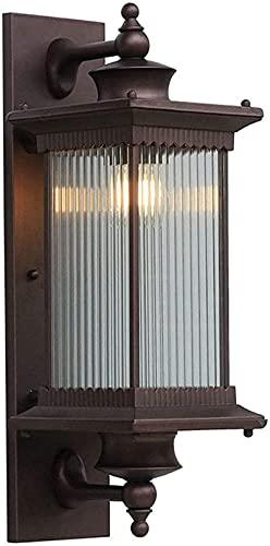 Candeeiro de parede retro E27 Candeeiro de parede exterior impermeável Design vintage Impermeável IP44 Candeeiro de vidro de alumínio Abajur de jardim castanho cafés no interior