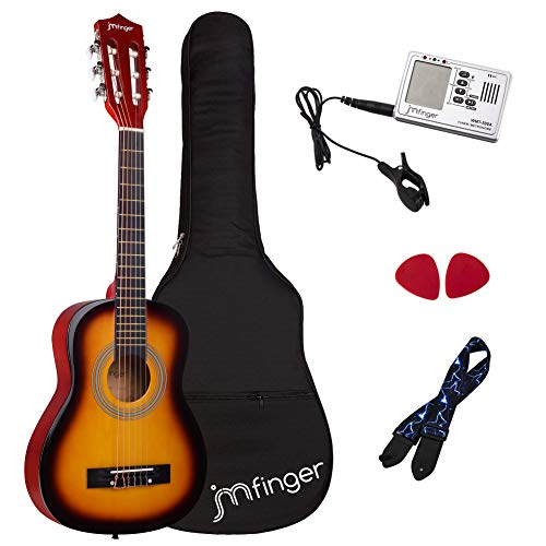 JMFinger Beginner Classical Guitar 30 Inch Kids Nylon Strings Guitar with Gig Bag, Strap, Picks, 3 in 1 Metronome & Tuner, Sunburst