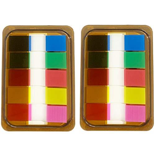 Selbstklebende Index-Sticker, Etiketten für Seiten oder Marker, Notizen, 5 Farben, 2 Sets, 200 Stück 1,2 x 4,5 cm