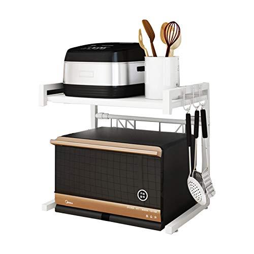 Mikrowellen-Ofenregal, erweiterbares horizontales verstellbares Mikrowellenregal, 2 Ebenen, Küchenregal und Organizer mit 3 Haken, weiß