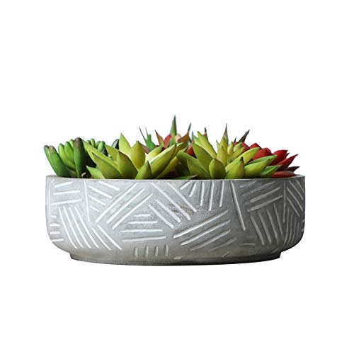 SQOWL 7Inch Morden Round Cement Succulent Planter Pot,Small Concrete Flower Pot Cactus Planter Herb Plant Pot with Drain Hole,Gray and White Indoor Outdoor