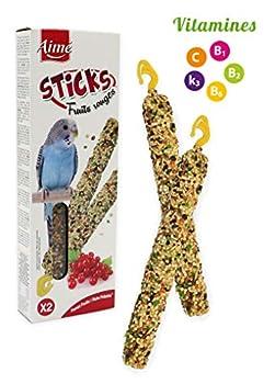 Aime Baguettes aux Fruits Rouges pour Perruches/Friandises pour Oiseaux/2 Baguettes Croustillantes