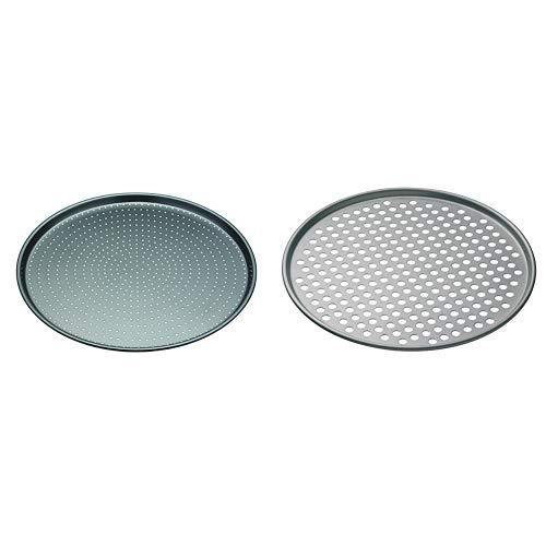 Master Class Crusty Bake Antihaft-Pizzablech/Knusperblech, Stahl, grau, 32 x 32 x 1,4 cm &  Antihaft-Pizza-Backblech mit Löchern, edelstahl, grau, 32 x 32 x 1 cm