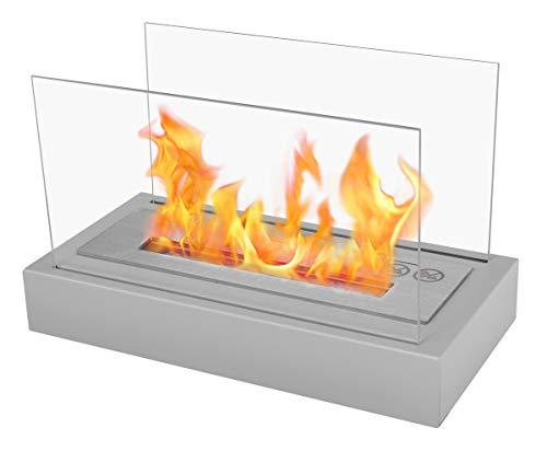 Chimenea de bioetanol con panel de cristal, color gris