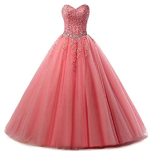 EVANKOU Damen Liebsten Lang Tüll Formellen Abendkleid Ballkleid Festkleider P25 Coral Große Größen 48