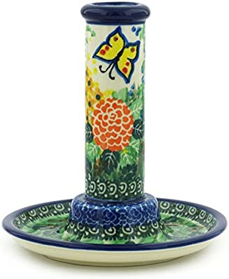 Polish Pottery 5½-inch Candle Holder Made by Ceramika Artystyczna (Spring Garden Theme) Signature UNIKAT + Certificate of Authenticity