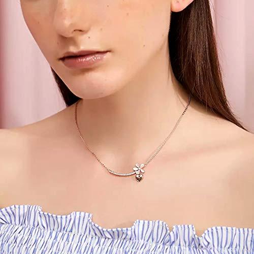 Precioso ópalo flor corazón collar colgantes oro rosa color cadena corta para mujeres accesorios de joyería